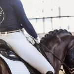 Dressurreiterin Victoria Wurzinger auf ihrem Pferd mit Reithelm und Tierlicht Poloshirt